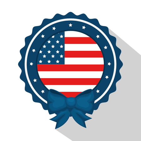 American flag with round frame and bow over white background. Vector illustration Иллюстрация
