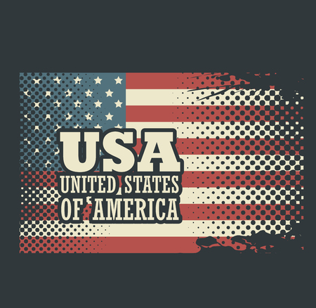 American flag and USA sign over blue background. Vector illustration.