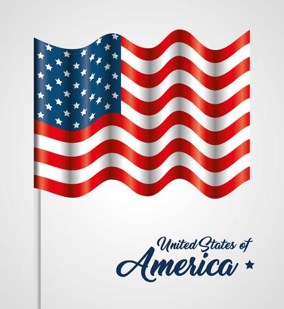 American waving flag over white background. Vector illustration
