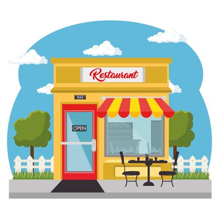 Van buiten gezien, restaurant met rode en gele luifel en winkelruit op witte achtergrond. Vector illustratie.