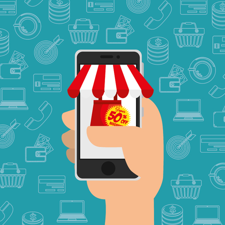 laptop: Hand holding a smartphone with a shopping website on its screen over teal background with hand drawn shopping related objects. Vector illustration.