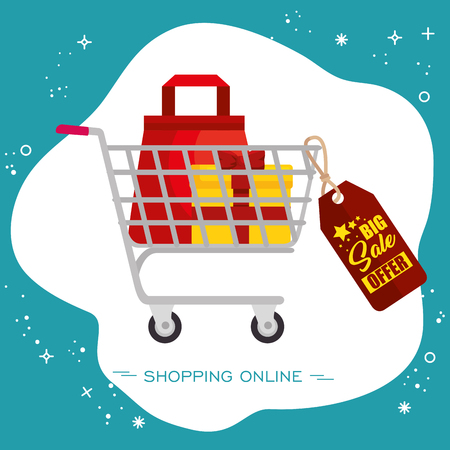 Shopping cart with bag and present inside and big sale tag over white and teal background. Vector illustration. Illustration