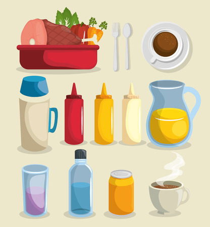 Food related things icon set over white background. Vector illustration.