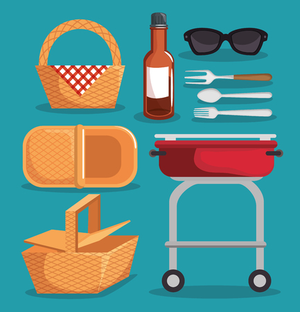 Picnic related things icon set over teal background. Vector illustration Illustration