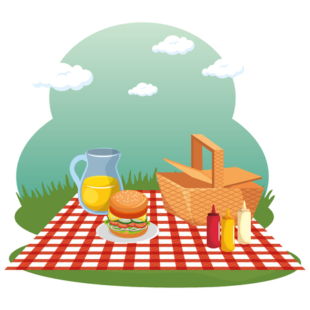 Picnic time design with basket, red gingham pattern blanket and food over field background. Vector illustration. Иллюстрация