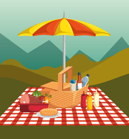 Picnic time design with red gingham pattern blanket, umbrella and food over field background. Vector illustration.