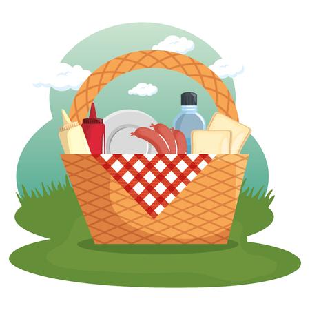 Picnic basket, food, red gingham cloth over field background. Vector illustration