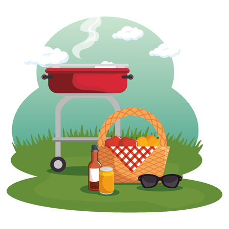 Picnic basket and barbecue roaster at field over white background. Vector illustration Illustration
