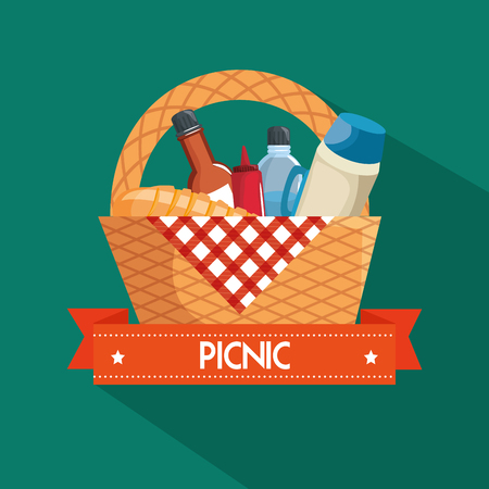 Picnic basket, food, red gingham cloth over teal background. Vector illustration