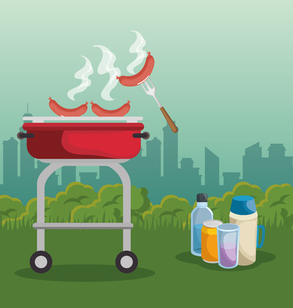 Barbecue roaster, drinks and sausages over city background. Vector illustration. Illustration