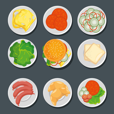 Food in plates over grey background. Vector illustration Illustration