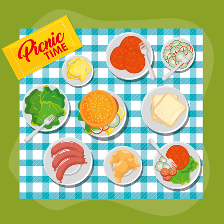 Picnic time design with blue gingham pattern blanket and food over green background. Vector illustration.