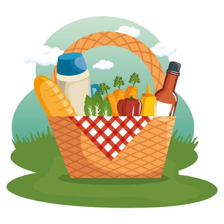 ピクニック バスケット、食品、フィールド背景に赤いギンガム チェック布。ベクトル図  イラスト・ベクター素材