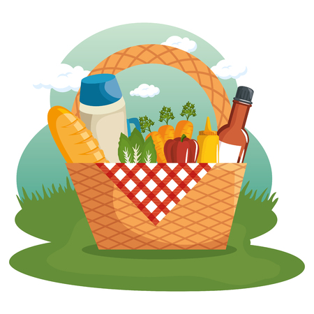 Picnic basket, food, red gingham cloth over field background. Vector illustration