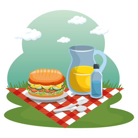 Picnic time design with red gingham pattern blanket and food over field background. Vector illustration.