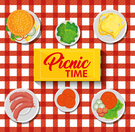 Picnic time design with red gingham pattern blanket and food. Vector illustration.