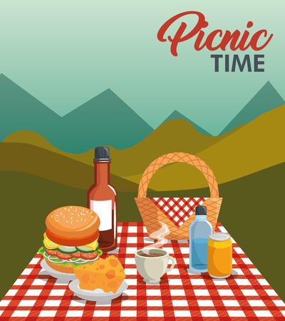 野餐时间设计与篮子,红色格子图案毯子,和食物超过山景观背景。矢量插图。