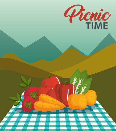 ティール ギンガム パターン毛布と山の風景を背景に野菜ピクニック時間デザイン。ベクトルの図。