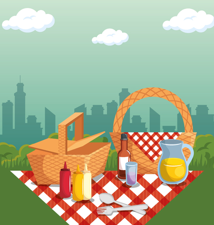 Picnic time design with baskets, red gingham pattern blanket and food over city silhouette background. Vector illustration. Illustration