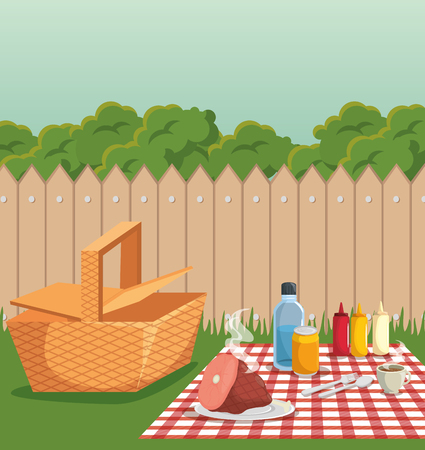 Picnic and barbecue at backyard with fence. Vector illustration.