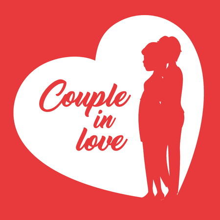 Couple in love sign with heart, boy and girl silhouette over red  background. Vector illustration. Illustration
