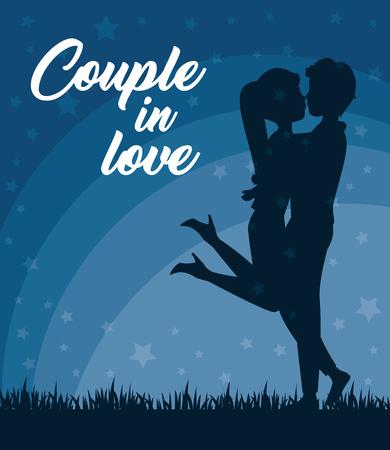 彼氏は青い星空の背景上にガール フレンドと草のシルエットを選ぶします。ベクトルの図。 写真素材 - 78101536