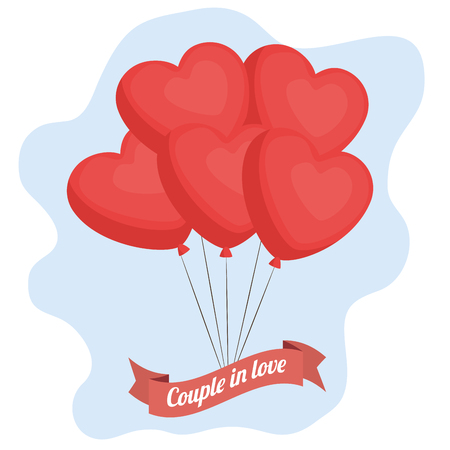Heart-shaped balloons and couple in love sign over light bue and white background. Vector illustration.