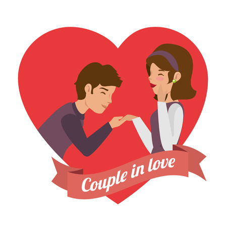 Man holding womans hand, heart and couple in love sign over white background. Vector illustration. Ilustrace