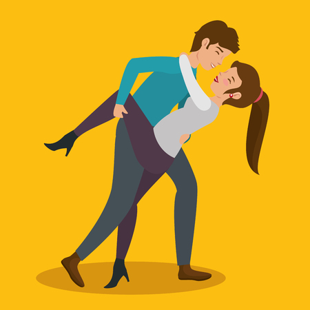 Couple leaning over for kiss over yellow background. Vector illustration. Illustration