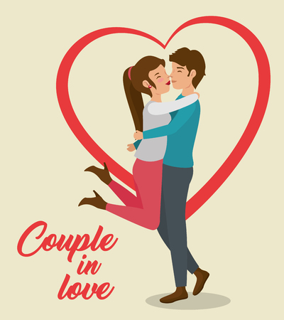 Boy picking girl up for kiss with heart and couple in love sign over beige background. Vector illustration.