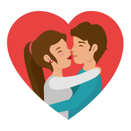 Paar zoenen en hart op witte achtergrond. Vector illustratie. Stock Illustratie