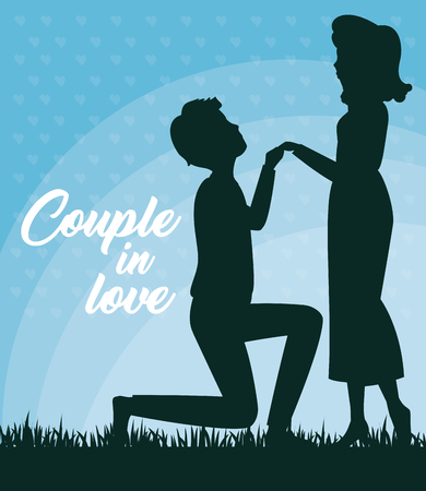 Man on his knees holding womans hand silhouettes over blue background. Vector illustration.