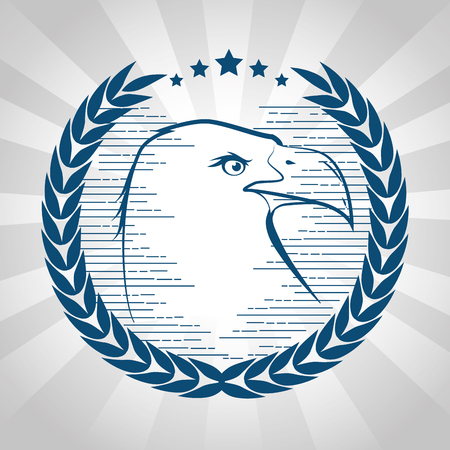 Hand drawn eagle with stars and laurel wreath over white background. Vector illustration.