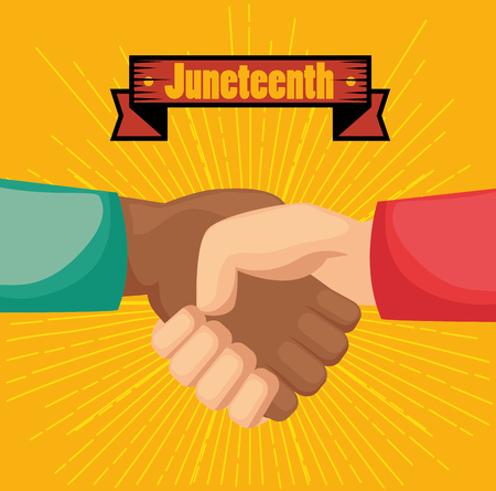 Afro american and caucasian people holding hands and juneteenth sign over yellow background. Vector illustration.