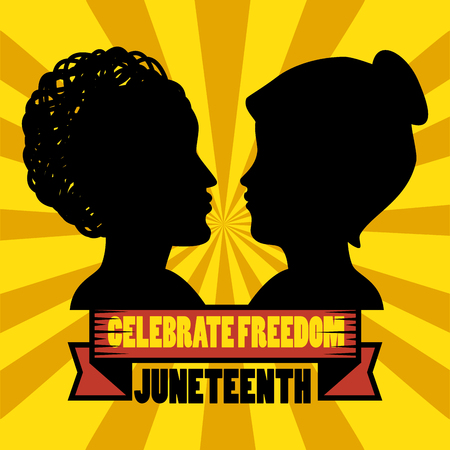 Celebrate freedom sign and people silhouettes over yellow background. Vector illustration.