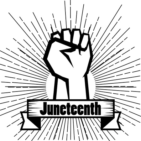 Hand drawn raised fist and juneteenth sign over white background. Vector illustration.