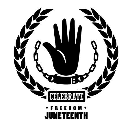 Hand with chain, laurel wreath silhouettes and celebrate freedom sign over white background. Vector illustration