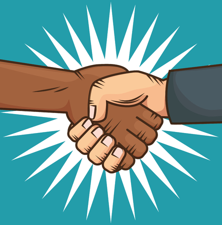 Afro american and caucasian people holding hands over blue background. Vector illustration. Illustration