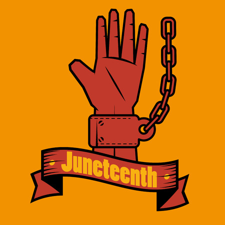 racism: Hand with chain and juneteenth sign over orange background. Vector illustration