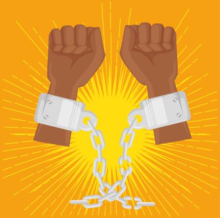 아프리카 계 미국인 사람 오렌지 배경 위에 체인으로 손을 제기. 벡터 일러스트 레이 션. 스톡 콘텐츠 - 78101749