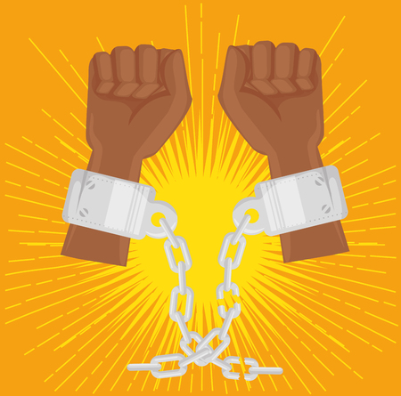 Afro american persons raised hands with chains over orange background. Vector illustration.