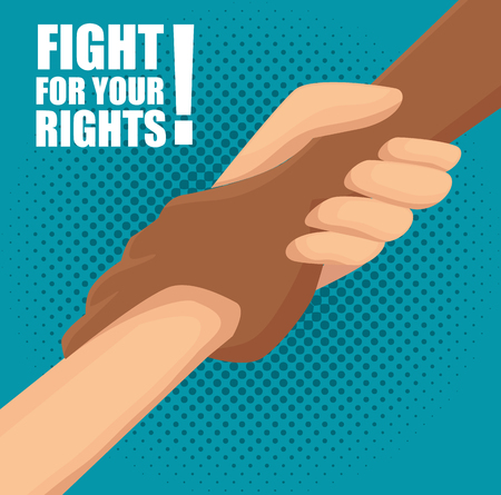Afro american and caucasian people holding hands and fight for your rights sign over teal background. Vector illustration.