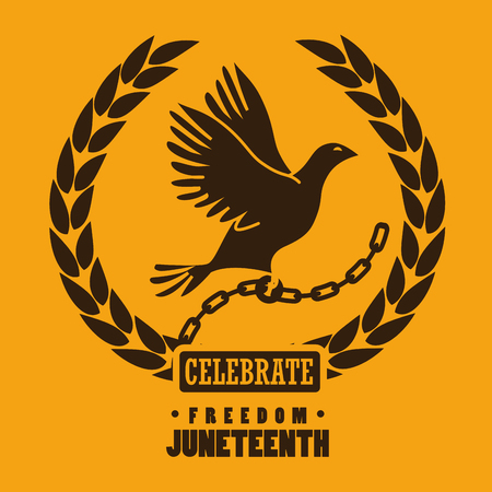 Freedom dove, chain and laurel wreath silhouettes over yellow background. Vector illustration