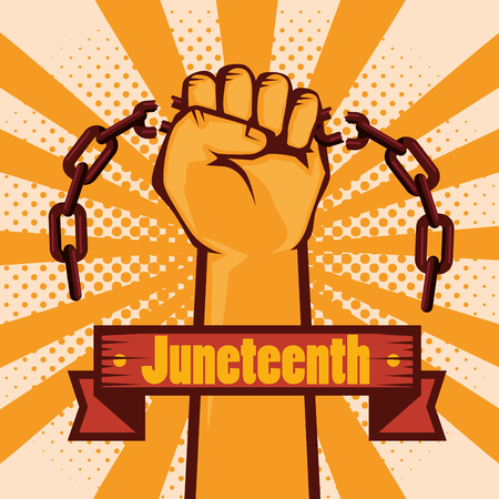 Raised hand holding a chain and juneteenth sign over orange and peach background. vector illustration.