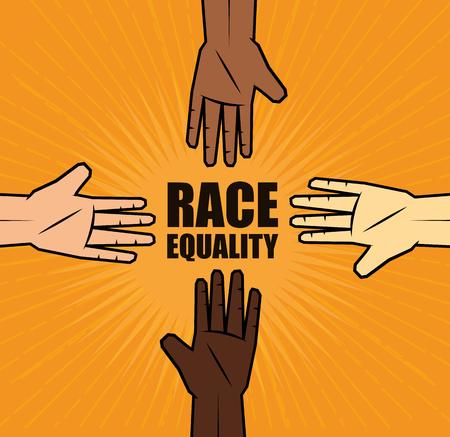 컬러 사람들은 백인 민족 레이스 평등과 손을 오렌지 배경 위에 서명.
