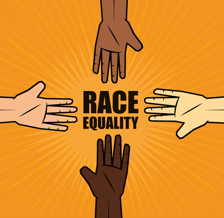 People of color an caucasian peoples hands with race equality sign over orange background.