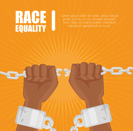 Afro american persons hands holding a chain and race equality sign over orange background. Illustration