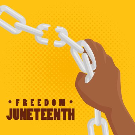 afro american persons hand breaking a chain and juneteenth sign over yellow background. Vector illustration.