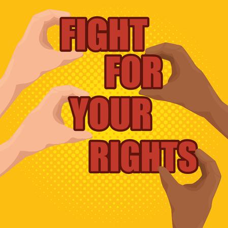 Caucasian and afroamerican peoples hands holding empowerment words. Vector illustration. Иллюстрация