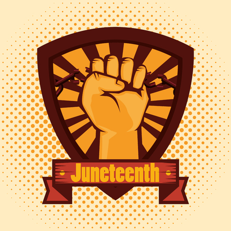 Hand drawn raised fist and juneteenth sign shield over yellow dotted background. Vector illustration.